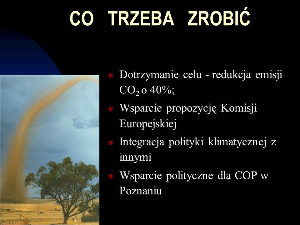 CO TRZEBA ZROBIĆ Dotrzymanie celu - redukcja emisji CO 2 o 40%; Wsparcie propozycję Komisji Europejskiej Integracja polityki klimatycznej z innymi Wsparcie polityczne dla COP w Poznaniu
