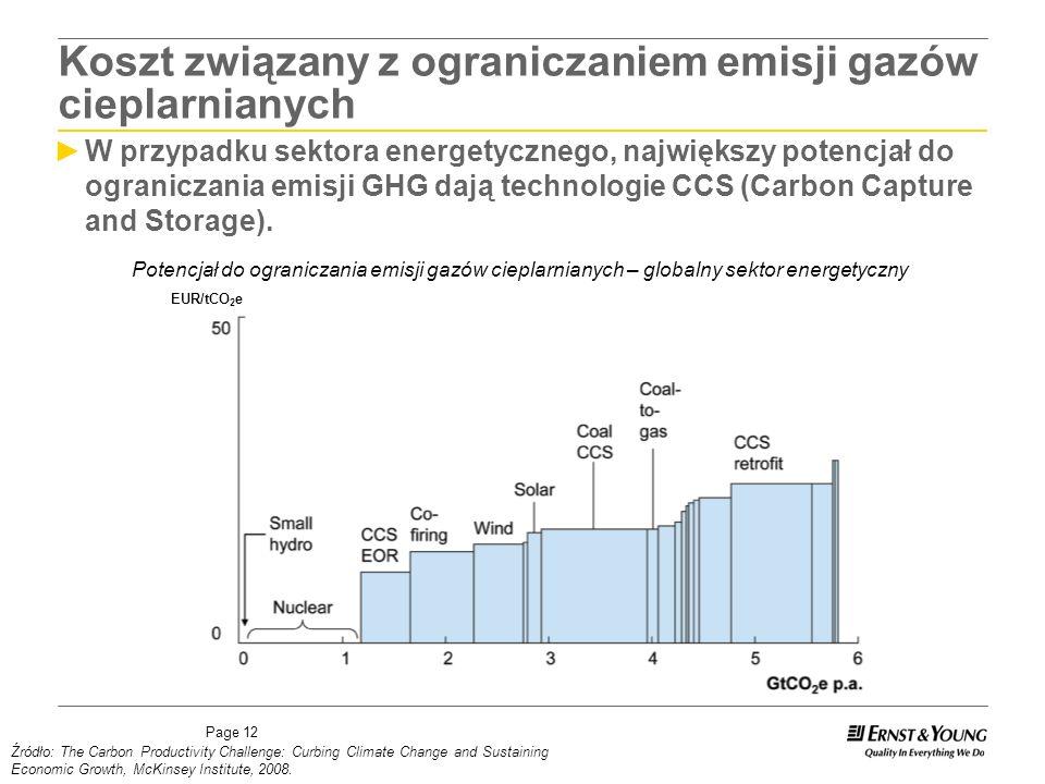 Page 12 W przypadku sektora energetycznego, największy potencjał do ograniczania emisji GHG dają technologie CCS (Carbon Capture and Storage).