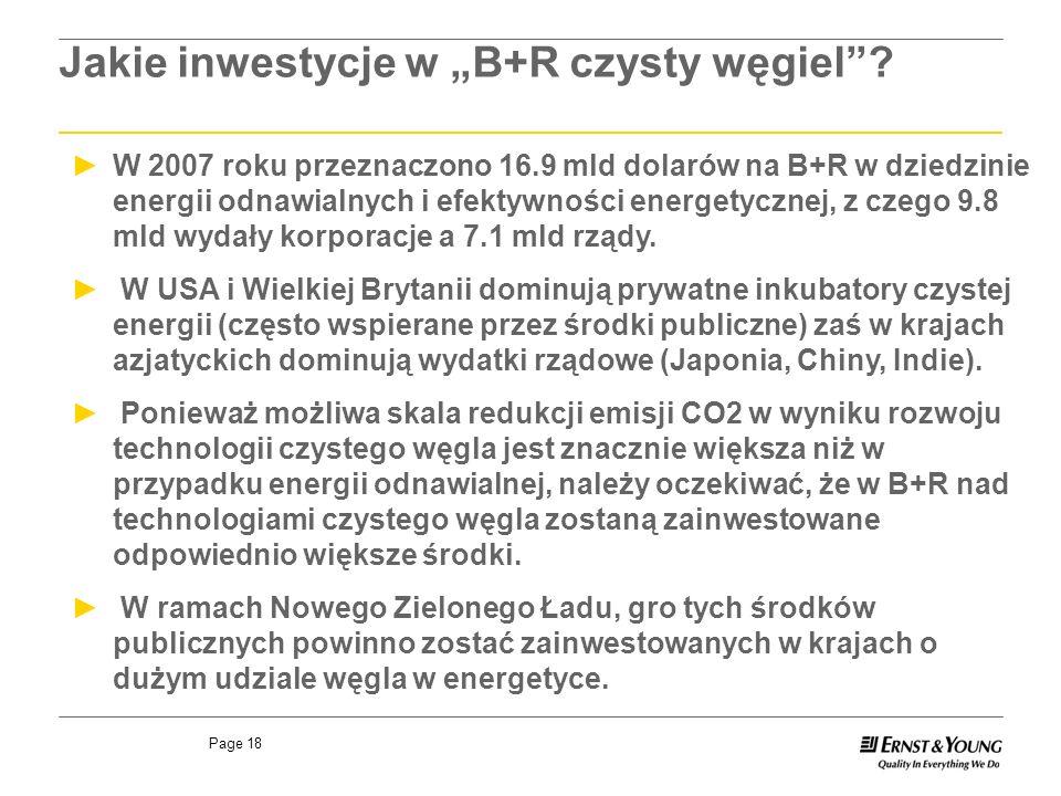 Page 18 W 2007 roku przeznaczono 16.9 mld dolarów na B+R w dziedzinie energii odnawialnych i efektywności energetycznej, z czego 9.8 mld wydały korporacje a 7.1 mld rządy.