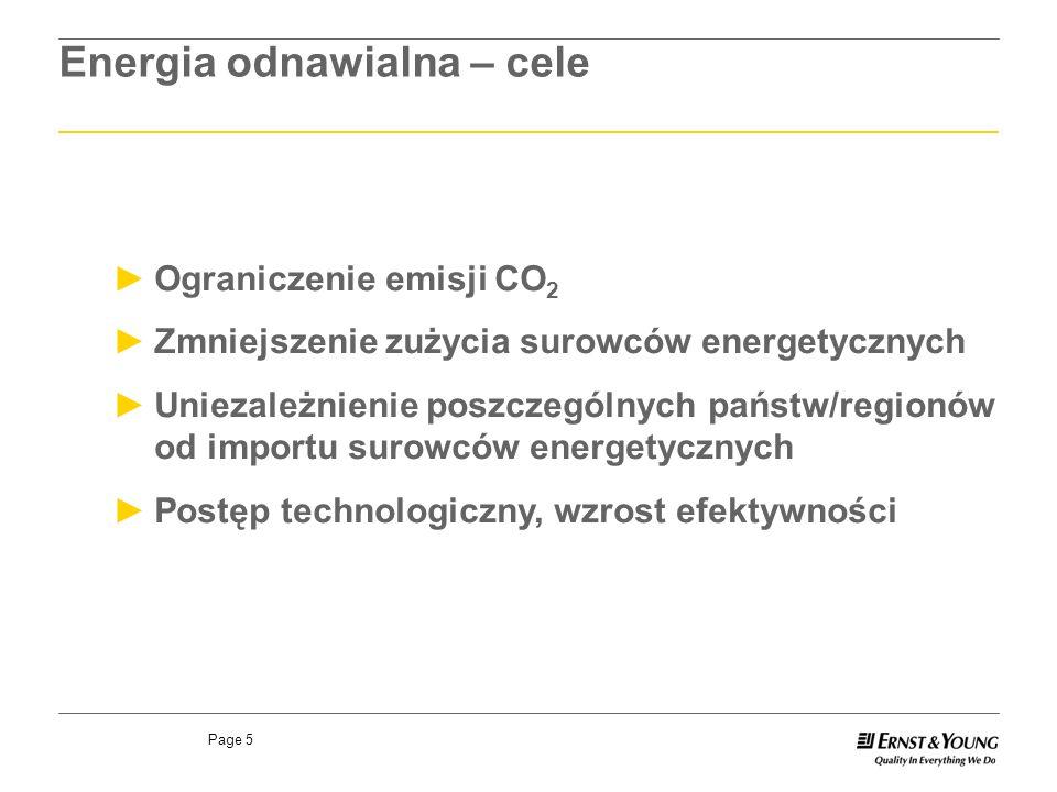 Page 5 Ograniczenie emisji CO 2 Zmniejszenie zużycia surowców energetycznych Uniezależnienie poszczególnych państw/regionów od importu surowców energetycznych Postęp technologiczny, wzrost efektywności Energia odnawialna – cele