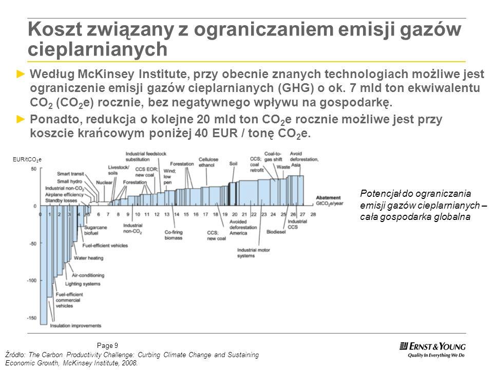 Page 9 Według McKinsey Institute, przy obecnie znanych technologiach możliwe jest ograniczenie emisji gazów cieplarnianych (GHG) o ok.