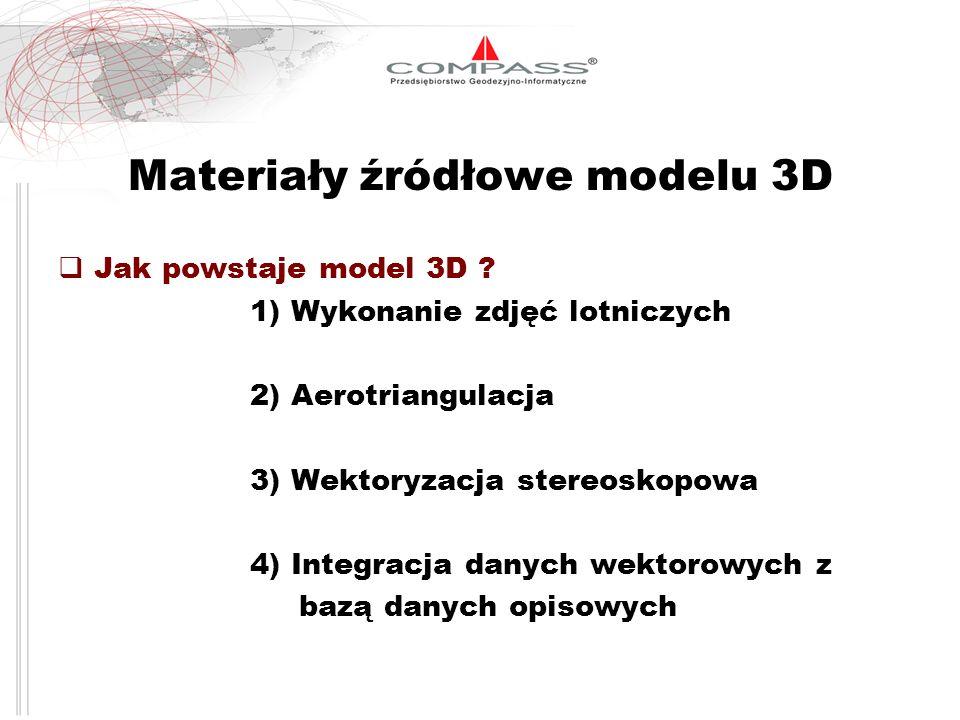 Materiały źródłowe modelu 3D Jak powstaje model 3D ? 1) Wykonanie zdjęć lotniczych 2) Aerotriangulacja 3) Wektoryzacja stereoskopowa 4) Integracja dan