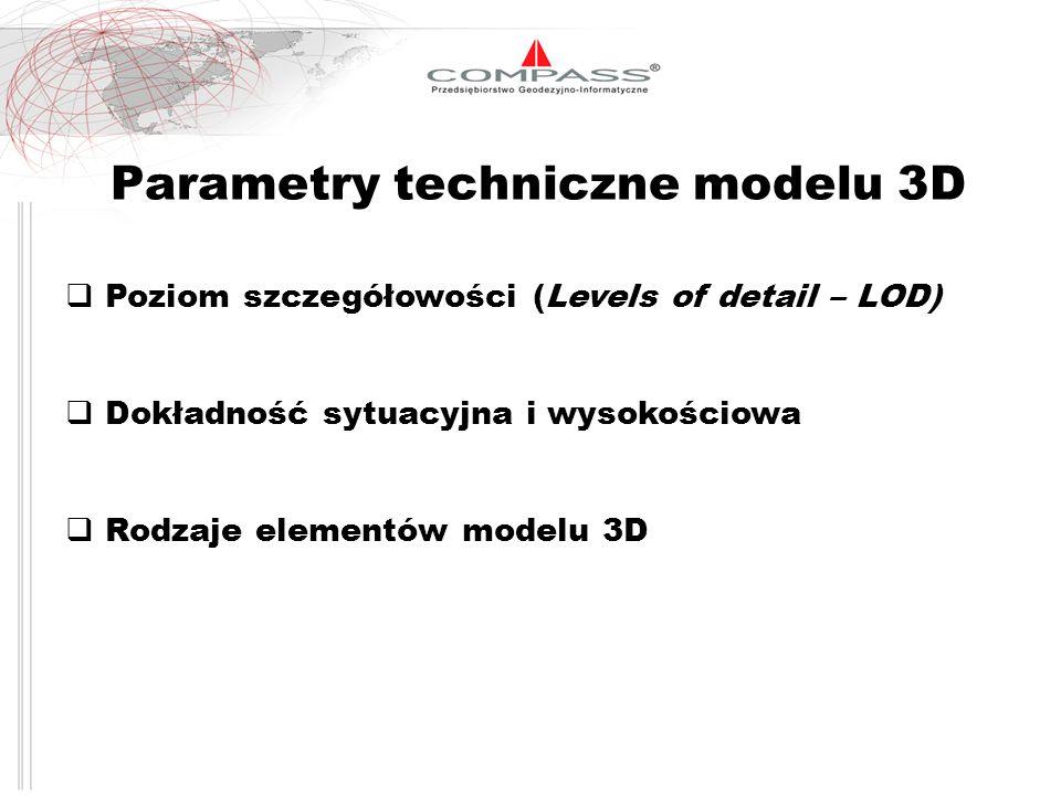 Parametry techniczne modelu 3D Poziom szczegółowości (Levels of detail – LOD) Dokładność sytuacyjna i wysokościowa Rodzaje elementów modelu 3D