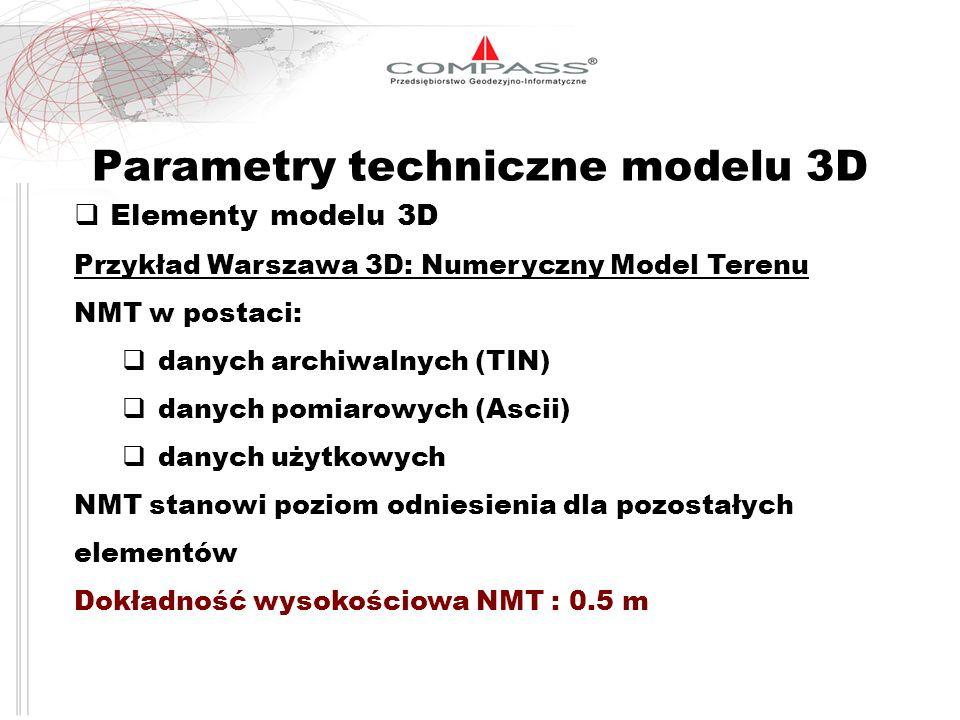 Parametry techniczne modelu 3D Elementy modelu 3D Przykład Warszawa 3D: Numeryczny Model Terenu NMT w postaci: danych archiwalnych (TIN) danych pomiar