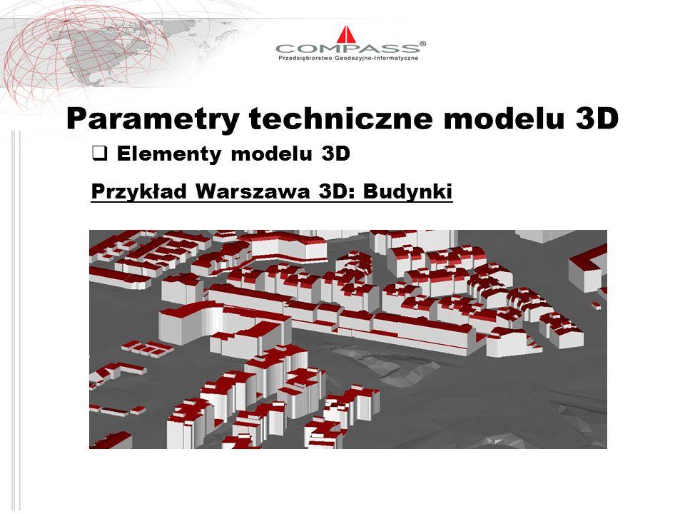 Parametry techniczne modelu 3D Elementy modelu 3D Przykład Warszawa 3D: Budynki