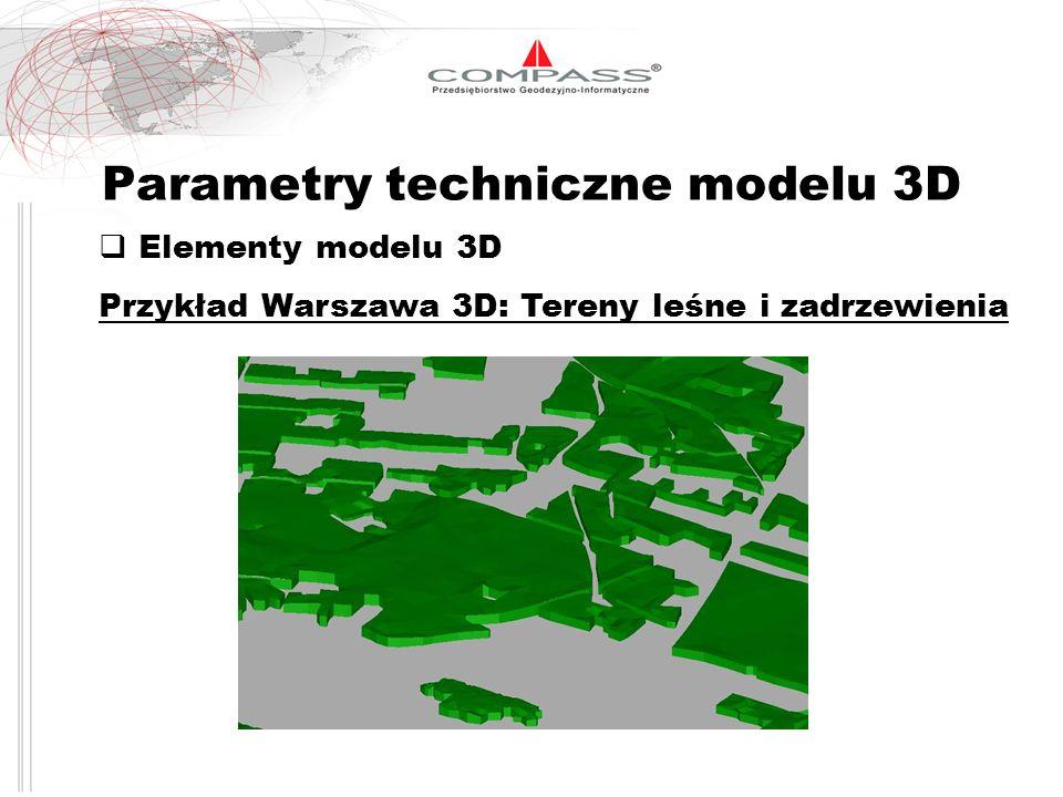 Parametry techniczne modelu 3D Elementy modelu 3D Przykład Warszawa 3D: Tereny leśne i zadrzewienia