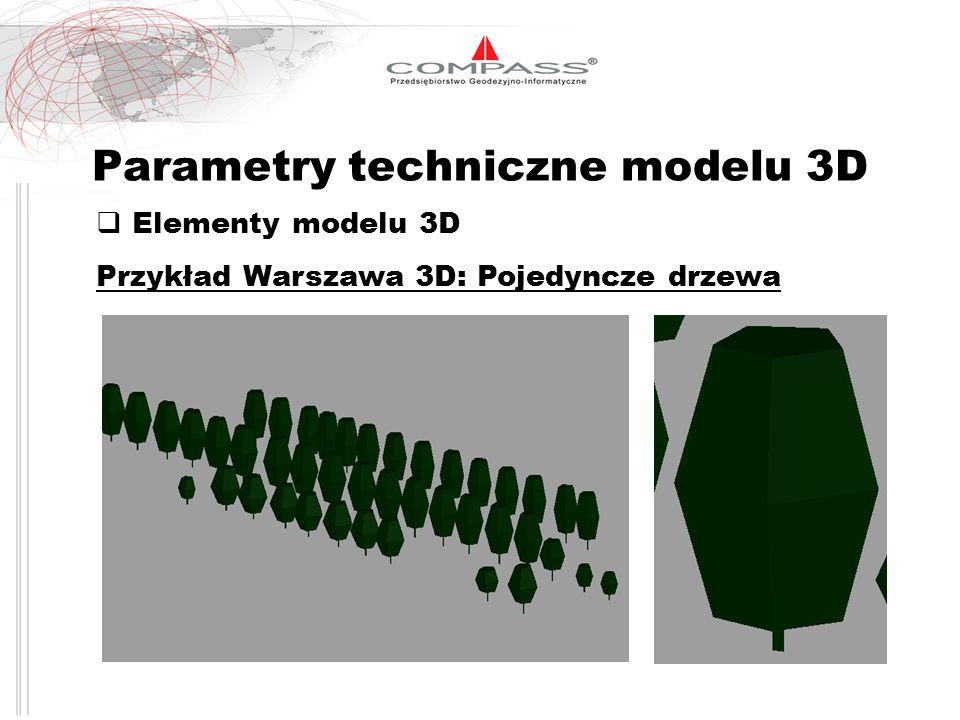 Parametry techniczne modelu 3D Elementy modelu 3D Przykład Warszawa 3D: Pojedyncze drzewa