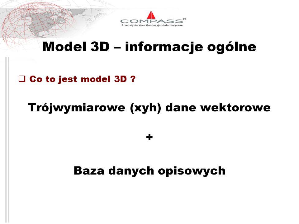 Model 3D – informacje ogólne Co to jest model 3D ? Trójwymiarowe (xyh) dane wektorowe + Baza danych opisowych