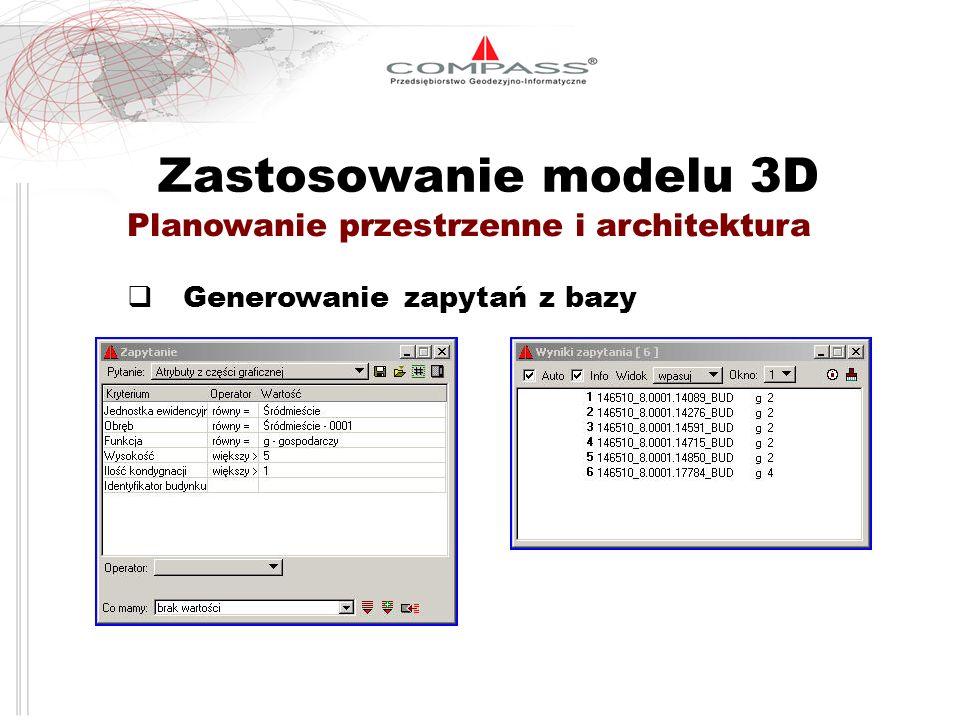 Zastosowanie modelu 3D Planowanie przestrzenne i architektura Generowanie zapytań z bazy