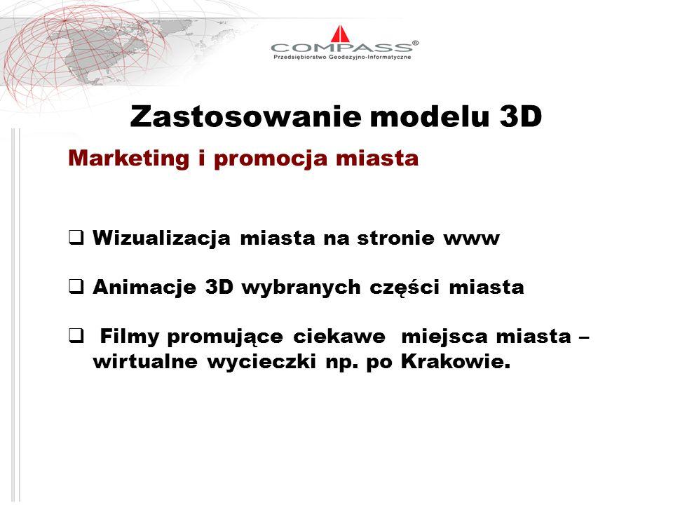 Zastosowanie modelu 3D Marketing i promocja miasta Wizualizacja miasta na stronie www Animacje 3D wybranych części miasta Filmy promujące ciekawe miej