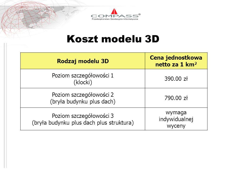 Koszt modelu 3D Rodzaj modelu 3D Cena jednostkowa netto za 1 km 2 Poziom szczegółowości 1 (klocki) 390.00 zł Poziom szczegółowości 2 (bryła budynku pl