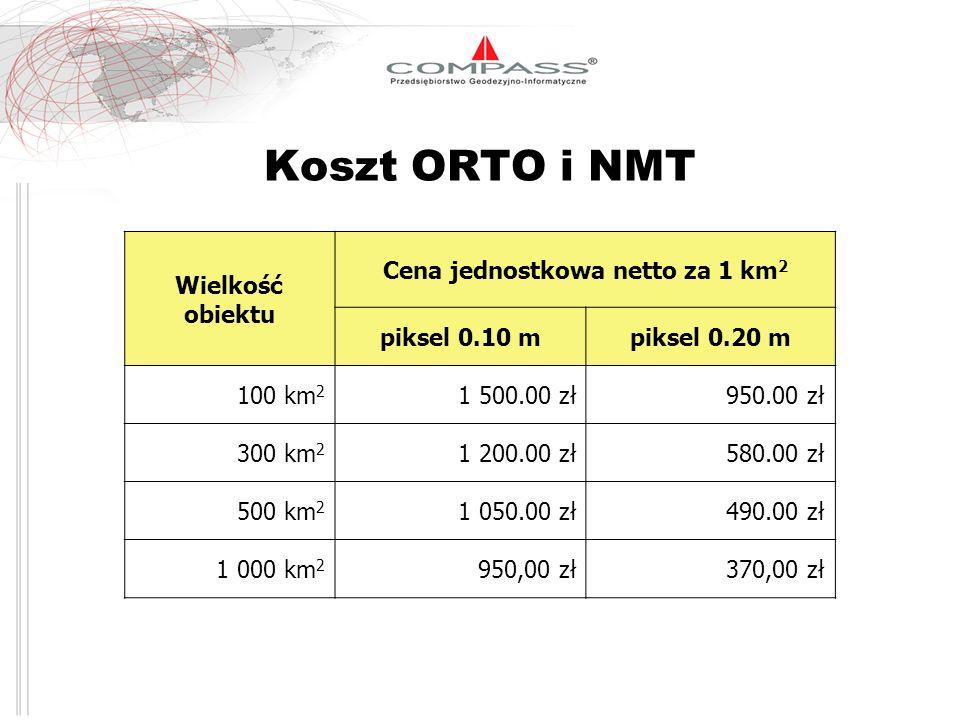 Koszt ORTO i NMT Wielkość obiektu Cena jednostkowa netto za 1 km 2 piksel 0.10 mpiksel 0.20 m 100 km 2 1 500.00 zł950.00 zł 300 km 2 1 200.00 zł580.00