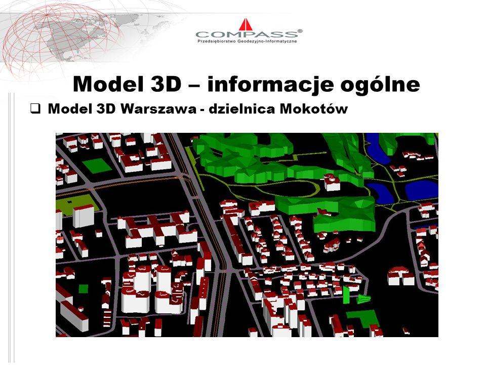 Parametry techniczne modelu 3D Elementy modelu 3D Przykład Warszawa 3D: Drogi, tory kolejowe