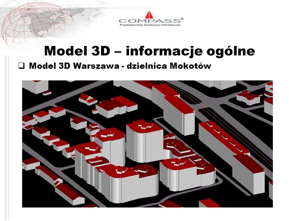 Parametry techniczne modelu 3D Elementy modelu 3D Przykład Warszawa 3D: Budowle techniczne