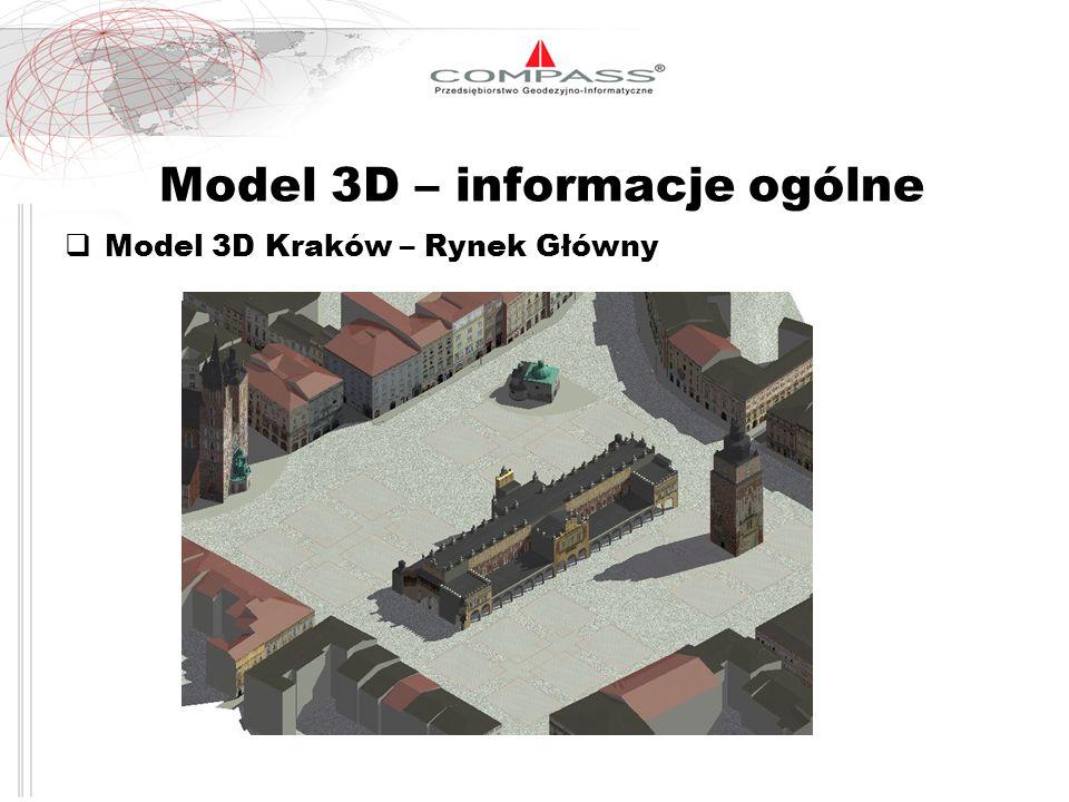 Parametry techniczne modelu 3D Poziom szczegółowości (Levels of detail – LOD) 1) LOD 1 - zasadnicza bryła budynku 2) LOD 2 - zasadnicza bryła budynku plus elementy dachu 3) LOD 3 - dokładne elementy budynku plus tekstura