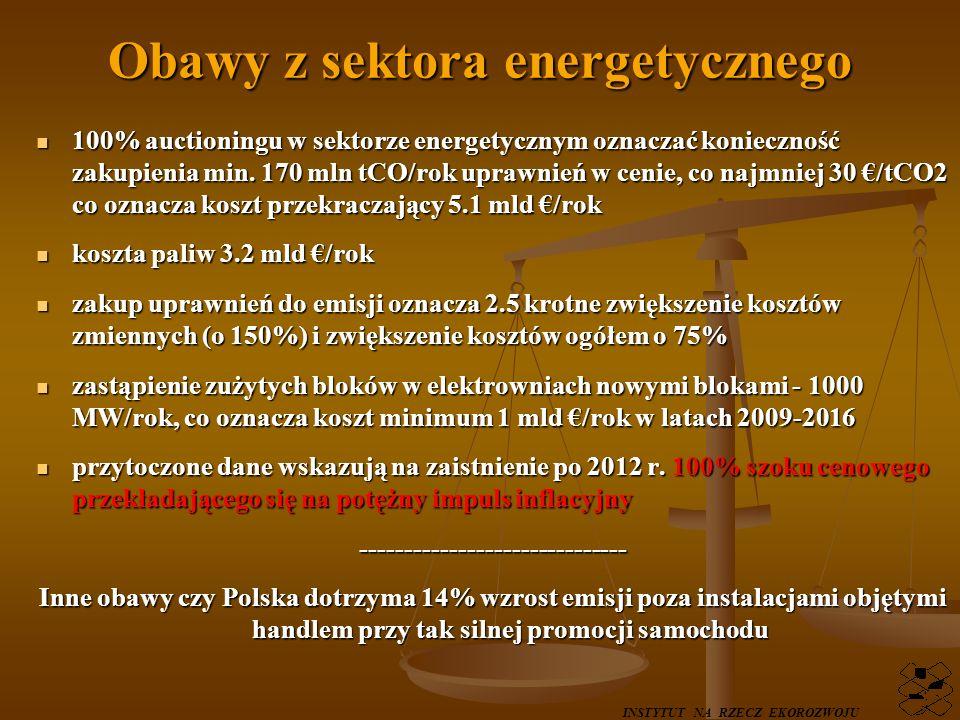 Szanse do wykorzystania nadwyżki w stosunku do limitów z Kioto - 2 mld rocznie od 2008r., nadwyżki w stosunku do limitów z Kioto - 2 mld rocznie od 2008r., 7 mld w 2013 roku do 10 mld w 2020 ze sprzedaży uprawnień na aukcji 7 mld w 2013 roku do 10 mld w 2020 ze sprzedaży uprawnień na aukcji możliwości rozwoju OZE ponad limit UE 15% energii finalnej możliwości rozwoju OZE ponad limit UE 15% energii finalnej negocjacje z KE w sprawie powiązania sektorów objętych handlem i nie negocjacje z KE w sprawie powiązania sektorów objętych handlem i nie-------------- Kluczowe pytanie Na co tak znaczne przychody budżetu państwa zastaną przeznaczone.