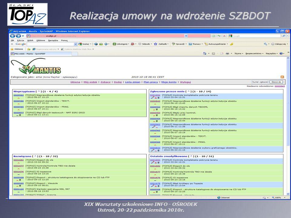 XIX Warsztaty szkoleniowe INFO - OŚRODEK Ustroń, 20-22 października 2010r. Realizacja umowy na wdrożenie SZBDOT