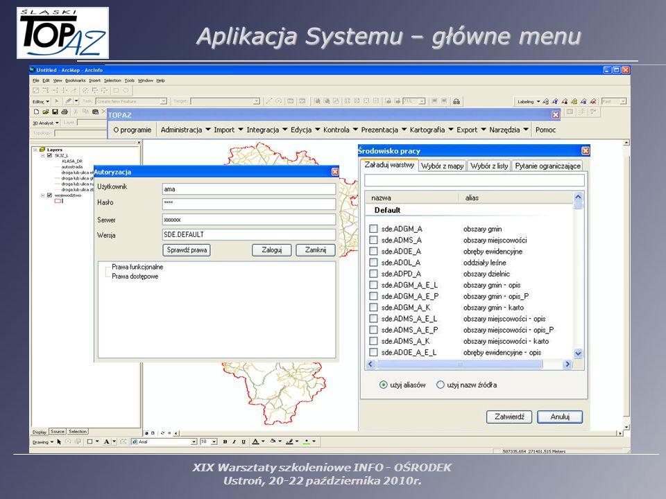 XIX Warsztaty szkoleniowe INFO - OŚRODEK Ustroń, 20-22 października 2010r. Aplikacja Systemu – główne menu