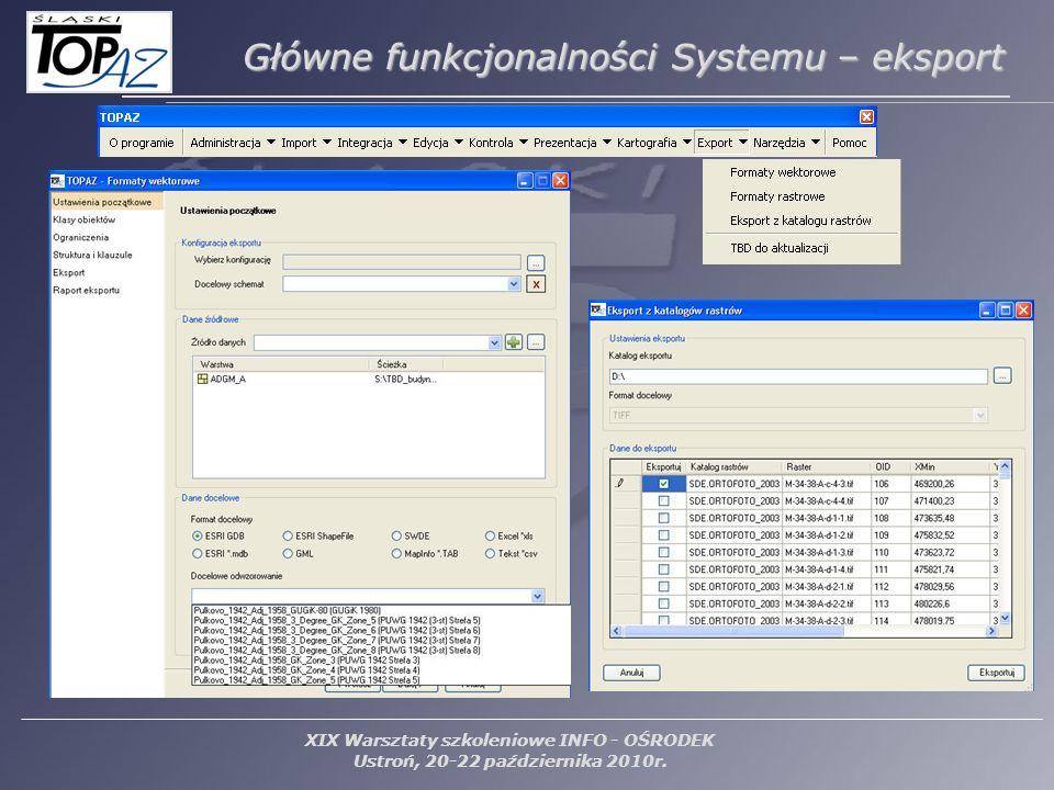 XIX Warsztaty szkoleniowe INFO - OŚRODEK Ustroń, 20-22 października 2010r. Główne funkcjonalności Systemu – eksport