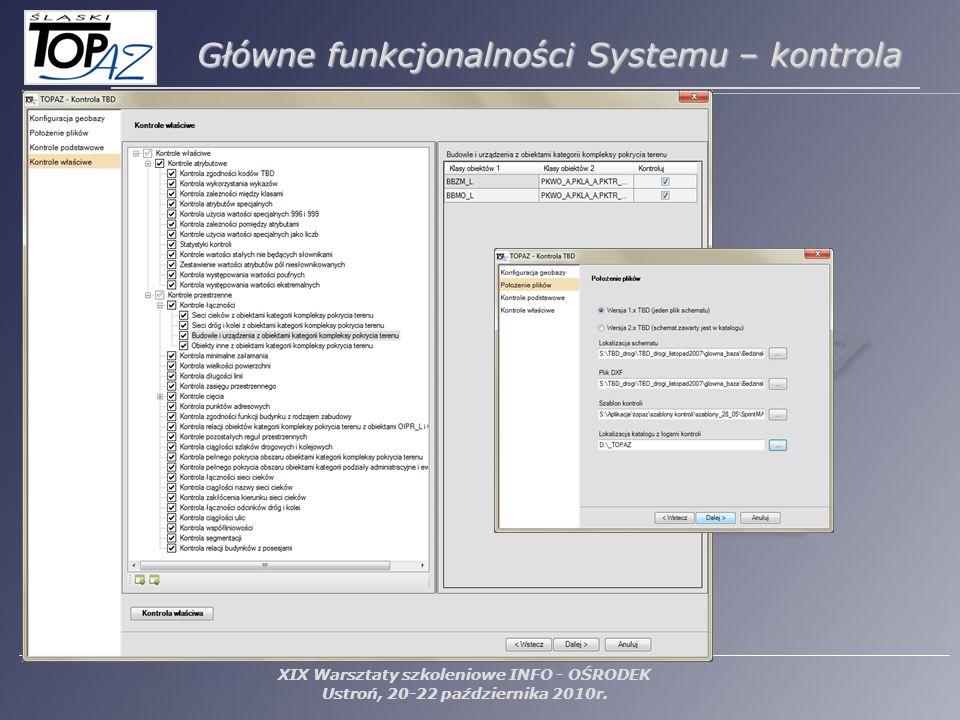 XIX Warsztaty szkoleniowe INFO - OŚRODEK Ustroń, 20-22 października 2010r. Główne funkcjonalności Systemu – kontrola
