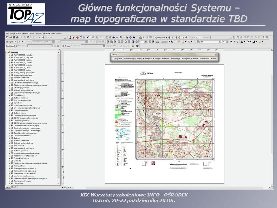 XIX Warsztaty szkoleniowe INFO - OŚRODEK Ustroń, 20-22 października 2010r. Główne funkcjonalności Systemu – map topograficzna w standardzie TBD