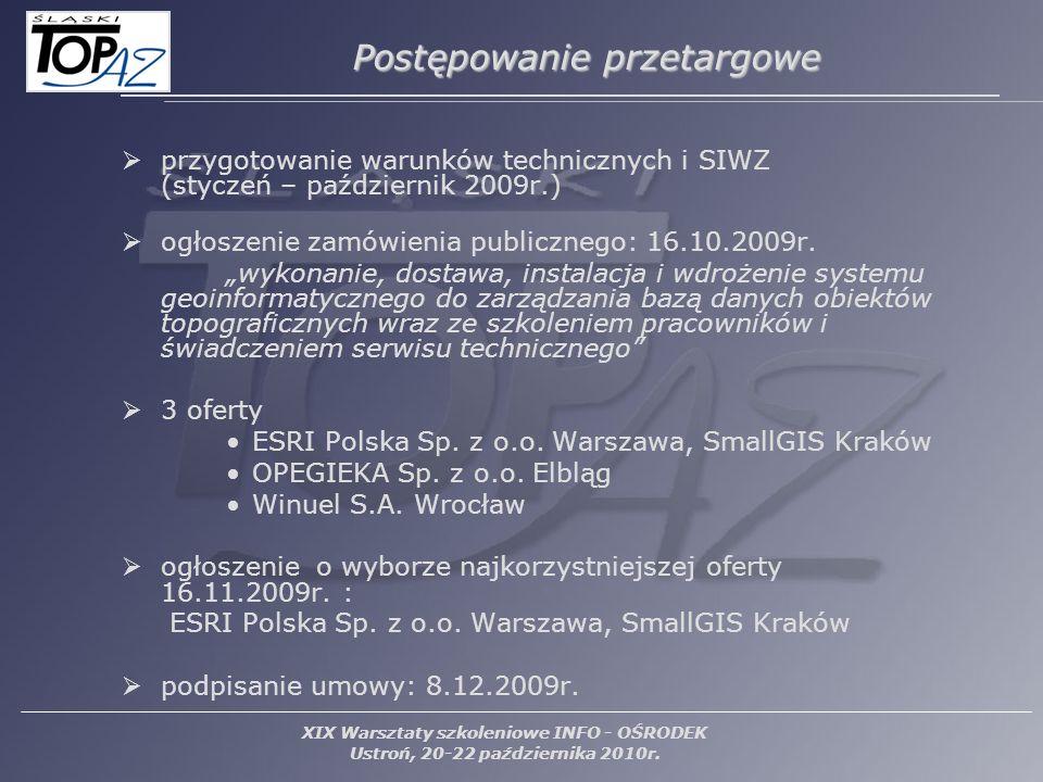 przygotowanie warunków technicznych i SIWZ (styczeń – październik 2009r.) ogłoszenie zamówienia publicznego: 16.10.2009r. wykonanie, dostawa, instalac