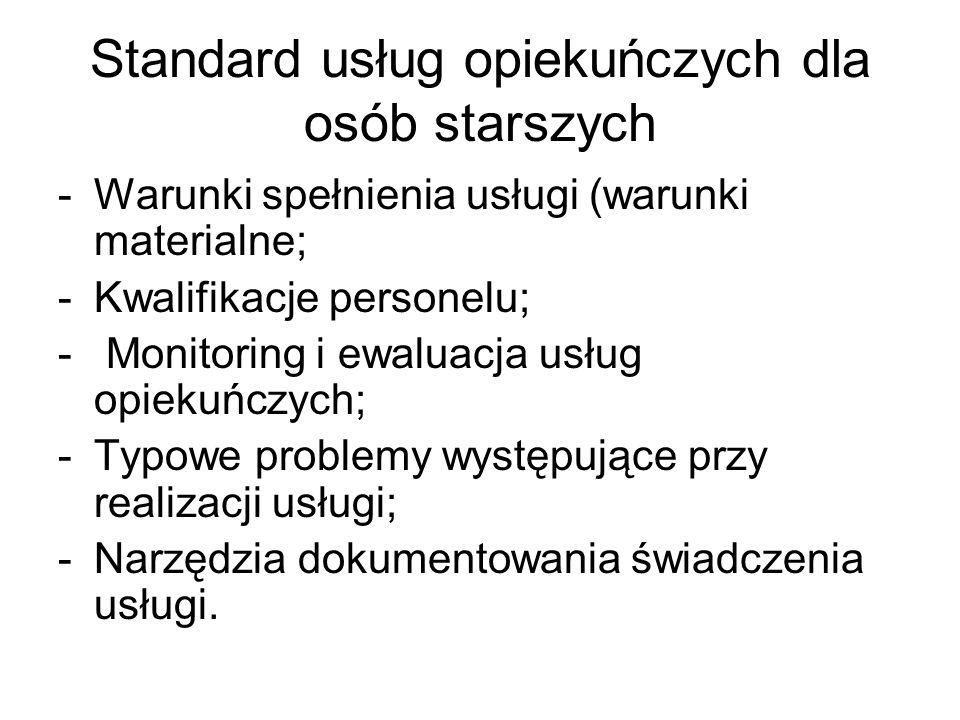 Standard usług opiekuńczych dla osób starszych -Warunki spełnienia usługi (warunki materialne; -Kwalifikacje personelu; - Monitoring i ewaluacja usług opiekuńczych; -Typowe problemy występujące przy realizacji usługi; -Narzędzia dokumentowania świadczenia usługi.