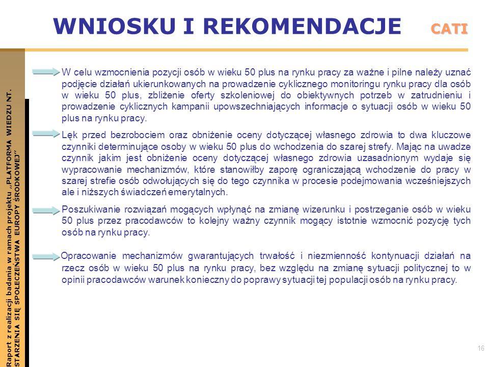 16 WNIOSKU I REKOMENDACJE Raport z realizacji badania w ramach projektu PLATFORMA WIEDZU NT.STARZENIA SIĘ SPOŁECZEŃSTWA EUROPY ŚRODKOWEJ CATI W celu w