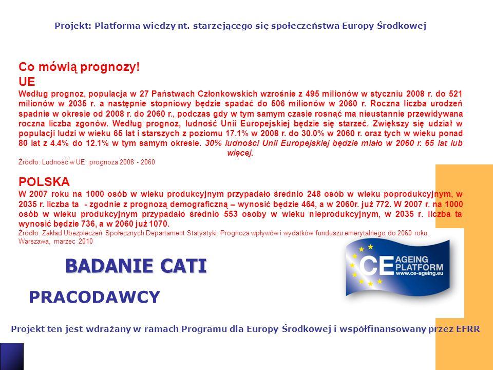 2 BADANIE CATI PRACODAWCY Projekt ten jest wdrażany w ramach Programu dla Europy Środkowej i współfinansowany przez EFRR Projekt: Platforma wiedzy nt.
