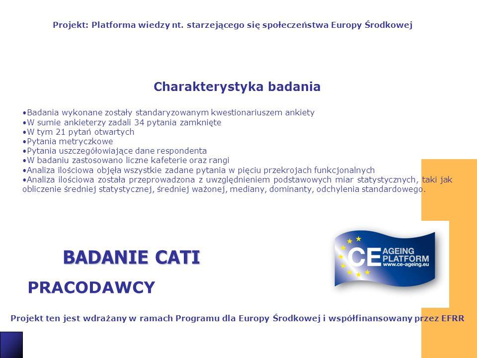 3 BADANIE CATI PRACODAWCY Projekt ten jest wdrażany w ramach Programu dla Europy Środkowej i współfinansowany przez EFRR Projekt: Platforma wiedzy nt.