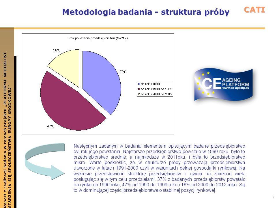 7 Metodologia badania - struktura próby Raport z realizacji badania w ramach projektu PLATFORMA WIEDZU NT.STARZENIA SIĘ SPOŁECZEŃSTWA EUROPY ŚRODKOWEJ