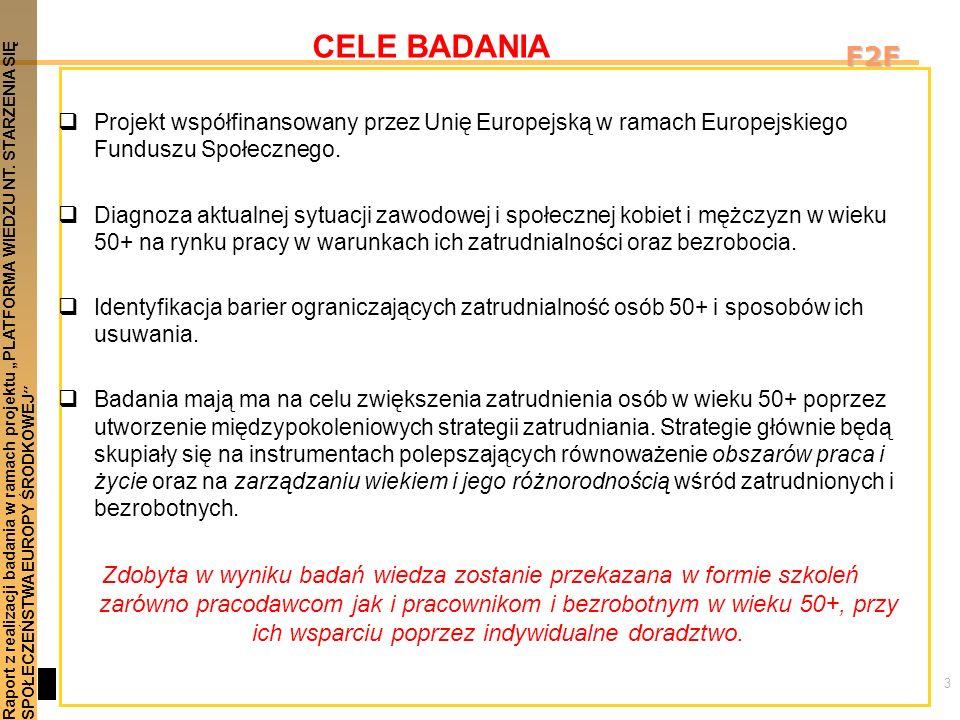 3 Raport z realizacji badania w ramach projektu PLATFORMA WIEDZU NT. STARZENIA SIĘSPOŁECZEŃSTWA EUROPY ŚRODKOWEJ F2F CELE BADANIA Projekt współfinanso