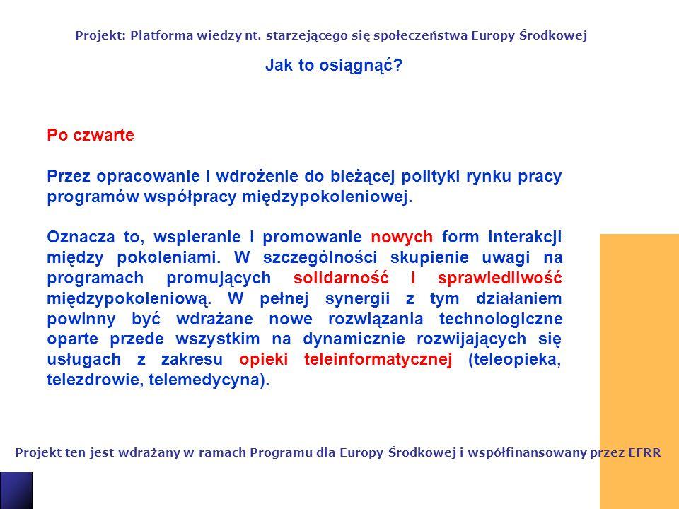 11 Projekt ten jest wdrażany w ramach Programu dla Europy Środkowej i współfinansowany przez EFRR Projekt: Platforma wiedzy nt.