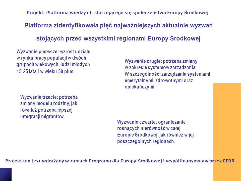 4 Projekt ten jest wdrażany w ramach Programu dla Europy Środkowej i współfinansowany przez EFRR Projekt: Platforma wiedzy nt.