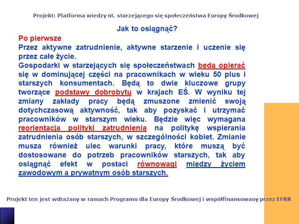 8 Projekt ten jest wdrażany w ramach Programu dla Europy Środkowej i współfinansowany przez EFRR Projekt: Platforma wiedzy nt.