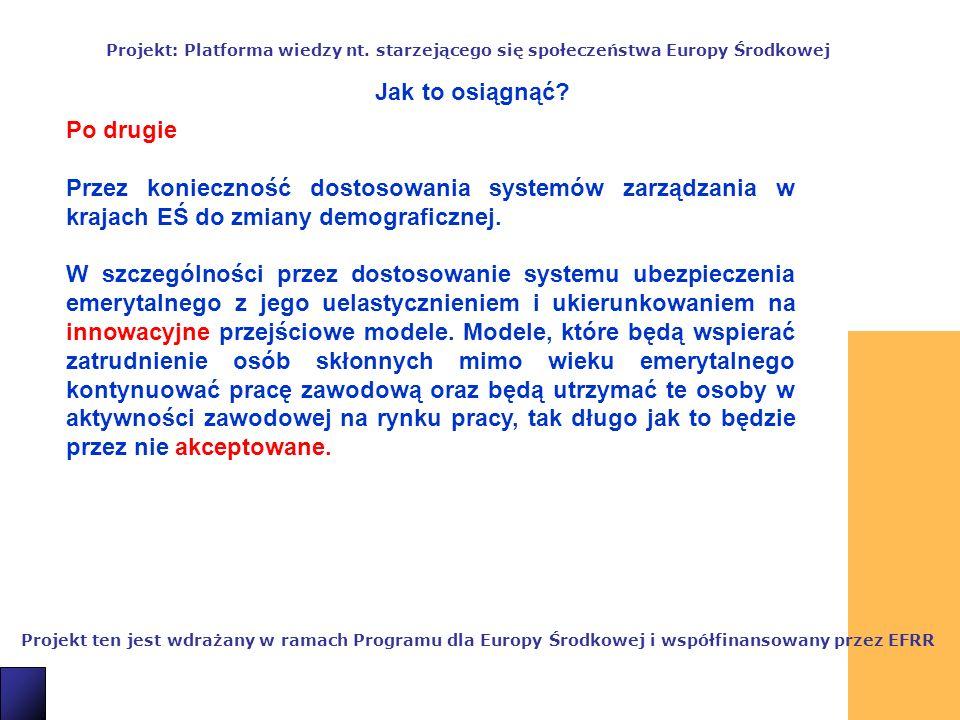 9 Projekt ten jest wdrażany w ramach Programu dla Europy Środkowej i współfinansowany przez EFRR Projekt: Platforma wiedzy nt.