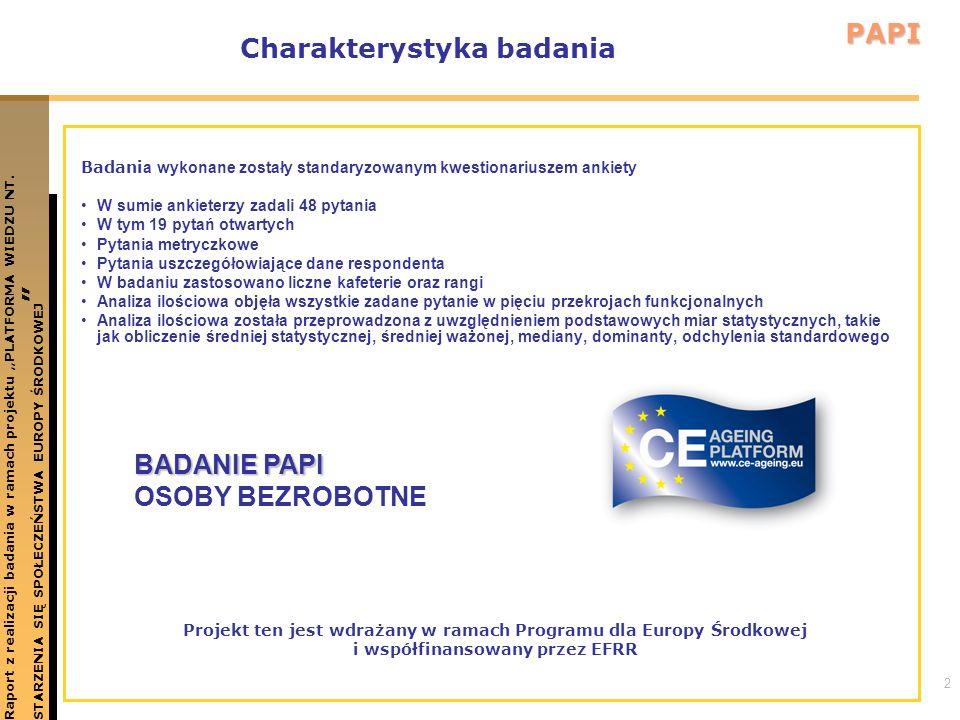 13 WNIOSKU I REKOMENDACJE Raport z realizacji badania w ramach projektu PLATFORMA WIEDZU NT.STARZENIA SIĘ SPOŁECZEŃSTWA EUROPY ŚRODKOWEJ PAPI W celu wzmocnienia pozycji osób w wieku 50 plus na rynku pracy za ważne i pilne należy uznać podjęcie działań ukierunkowanych na prowadzenie cyklicznego monitoringu rynku pracy dla osób w wieku 50 plus, zbliżenie oferty szkoleniowej do obiektywnych potrzeb w zatrudnieniu i prowadzenie cyklicznych kampanii upowszechniających informacje o sytuacji osób w wieku 50 plus na rynku pracy Lęk przed bezrobociem oraz obniżenie oceny dotyczącej własnego zdrowia to dwa kluczowe czynniki determinujące osoby w wieku 50 plus do wchodzenia do szarej strefy.
