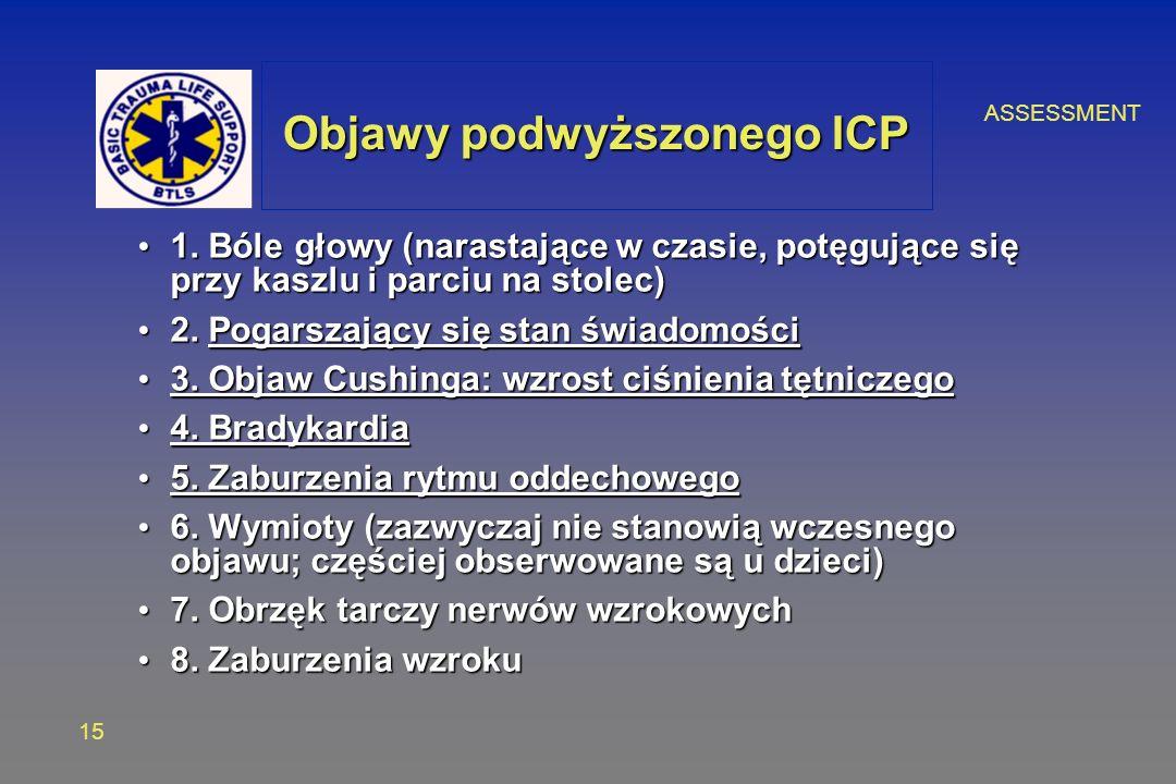 ASSESSMENT 15 Objawy podwyższonego ICP 1.