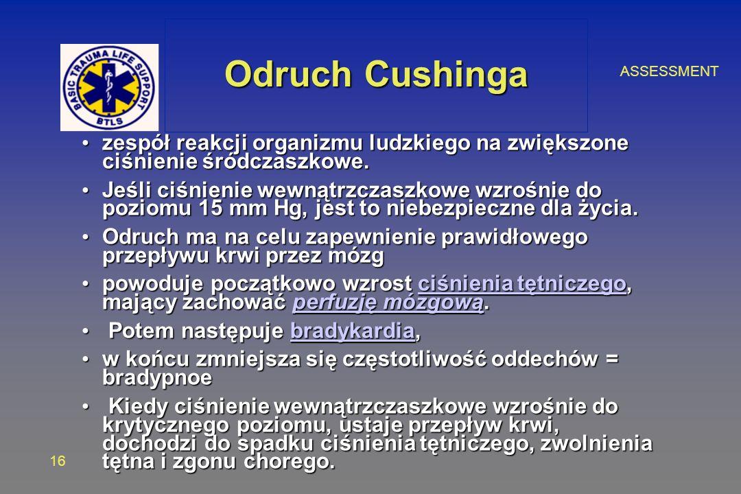 ASSESSMENT 16 Odruch Cushinga zespół reakcji organizmu ludzkiego na zwiększone ciśnienie śródczaszkowe. zespół reakcji organizmu ludzkiego na zwiększo