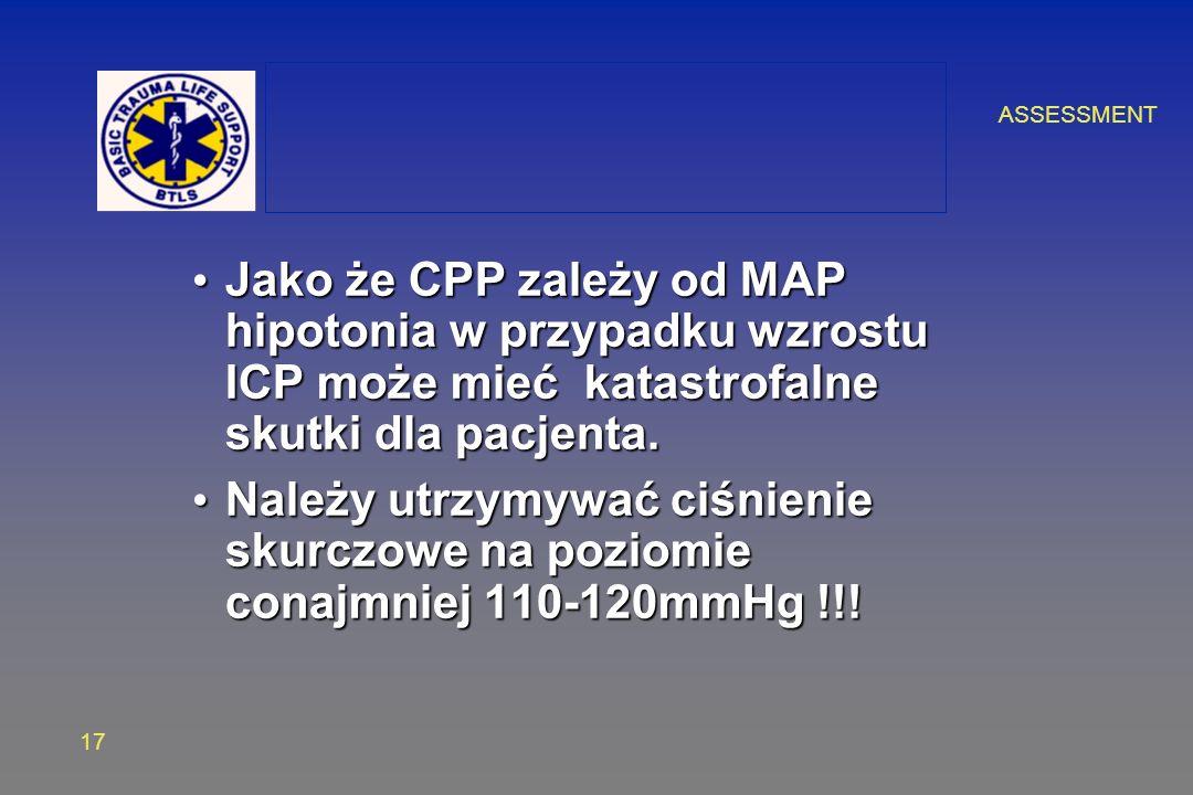 ASSESSMENT 17 Jako że CPP zależy od MAP hipotonia w przypadku wzrostu ICP może mieć katastrofalne skutki dla pacjenta. Jako że CPP zależy od MAP hipot