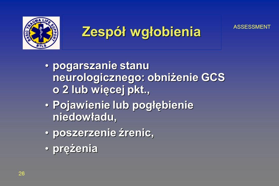 ASSESSMENT 26 Zespół wgłobienia pogarszanie stanu neurologicznego: obniżenie GCS o 2 lub więcej pkt., pogarszanie stanu neurologicznego: obniżenie GCS o 2 lub więcej pkt., Pojawienie lub pogłębienie niedowładu, Pojawienie lub pogłębienie niedowładu, poszerzenie źrenic, poszerzenie źrenic, prężenia prężenia