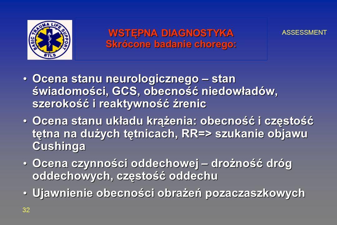 ASSESSMENT 32 WSTĘPNA DIAGNOSTYKA Skrócone badanie chorego: Ocena stanu neurologicznego – stan świadomości, GCS, obecność niedowładów, szerokość i reaktywność źrenic Ocena stanu neurologicznego – stan świadomości, GCS, obecność niedowładów, szerokość i reaktywność źrenic Ocena stanu układu krążenia: obecność i częstość tętna na dużych tętnicach, RR=> szukanie objawu Cushinga Ocena stanu układu krążenia: obecność i częstość tętna na dużych tętnicach, RR=> szukanie objawu Cushinga Ocena czynności oddechowej – drożność dróg oddechowych, częstość oddechu Ocena czynności oddechowej – drożność dróg oddechowych, częstość oddechu Ujawnienie obecności obrażeń pozaczaszkowych Ujawnienie obecności obrażeń pozaczaszkowych