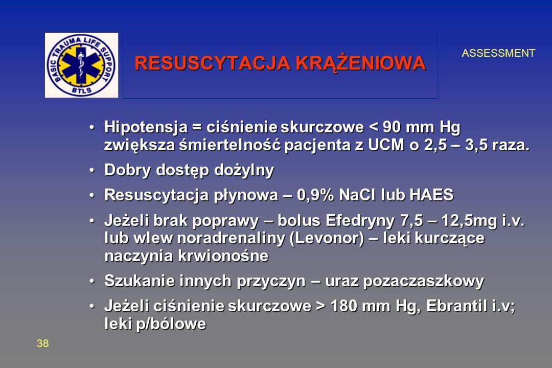 ASSESSMENT 38 RESUSCYTACJA KRĄŻENIOWA Hipotensja = ciśnienie skurczowe < 90 mm Hg zwiększa śmiertelność pacjenta z UCM o 2,5 – 3,5 raza. Hipotensja =