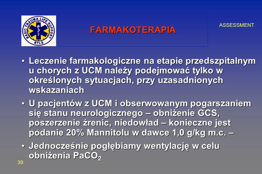 ASSESSMENT 39 FARMAKOTERAPIA Leczenie farmakologiczne na etapie przedszpitalnym u chorych z UCM należy podejmować tylko w określonych sytuacjach, przy