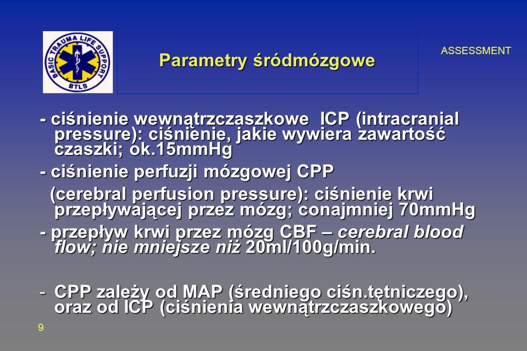 ASSESSMENT 9 - ciśnienie wewnątrzczaszkowe ICP (intracranial pressure): ciśnienie, jakie wywiera zawartość czaszki; ok.15mmHg - ciśnienie perfuzji mózgowej CPP (cerebral perfusion pressure): ciśnienie krwi przepływającej przez mózg; conajmniej 70mmHg (cerebral perfusion pressure): ciśnienie krwi przepływającej przez mózg; conajmniej 70mmHg - przepływ krwi przez mózg CBF – cerebral blood flow; nie mniejsze niż 20ml/100g/min.