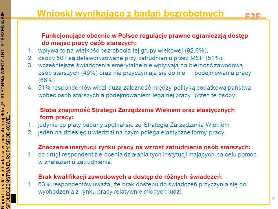 14 Raport z realizacji badania w ramach projektu PLATFORMA WIEDZU NT. STARZENIA SIĘSPOŁECZEŃSTWA EUROPY ŚRODKOWEJ F2F Wnioski wynikające z badań bezro