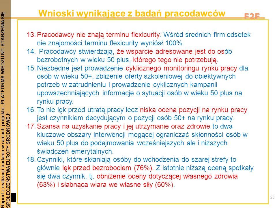 20 Raport z realizacji badania w ramach projektu PLATFORMA WIEDZU NT. STARZENIA SIĘSPOŁECZEŃSTWA EUROPY ŚRODKOWEJ F2F Wnioski wynikające z badań praco