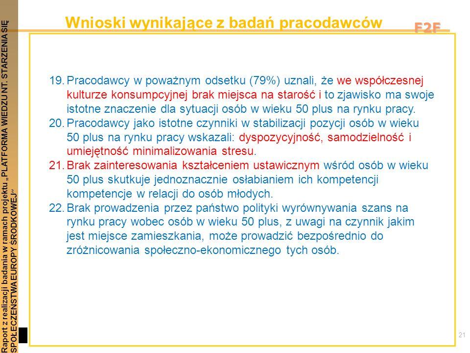 21 Raport z realizacji badania w ramach projektu PLATFORMA WIEDZU NT. STARZENIA SIĘSPOŁECZEŃSTWA EUROPY ŚRODKOWEJ F2F Wnioski wynikające z badań praco
