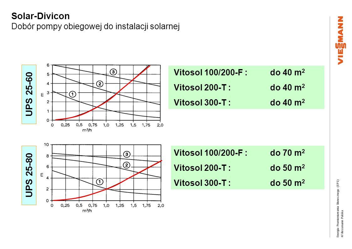 Energia Promieniowania Słonecznego (EPS) © Viessmann Polska Solar-Divicon Dobór pompy obiegowej do instalacji solarnej Vitosol 100/200-F : do 40 m 2 V