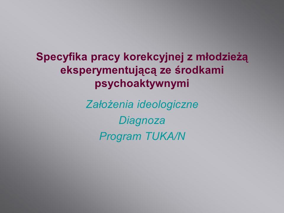 Specyfika pracy korekcyjnej z młodzieżą eksperymentującą ze środkami psychoaktywnymi Założenia ideologiczne Diagnoza Program TUKA/N